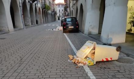 CARMAGNOLA - Vandali in azione in centro: rovesciati i contenitori della carta