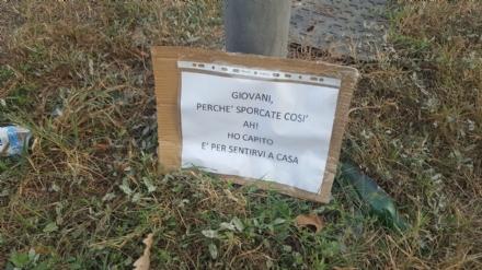 MONCALIERI - Troppi rifiuti in corso Trieste e spunta un cartello: «Sporcate per sentirvi a casa»