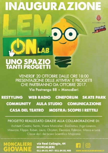 """MONCALIERI - """"LemOn Lab"""", il 20 ottobre inaugurazione del nuovo spazio giovanile alle Fonderie."""