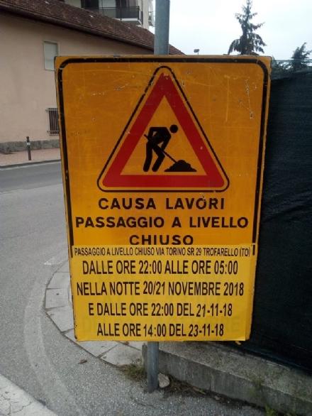 TROFARELLO - Chiuso il passaggio a livello di via Torino per manutenzione