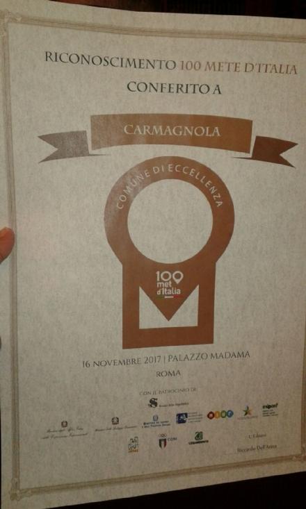 CARMAGNOLA - Il Comune premiato a Roma tra le 100 migliori mete dItalia