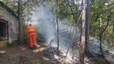 PIOSSASCO - Nuovo incendio sul monte San Giorgio. Vigili del fuoco e squadra Aib in azione