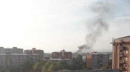 NICHELINO - Colonna di fumo al Boschetto: a fuoco rifiuti di carta