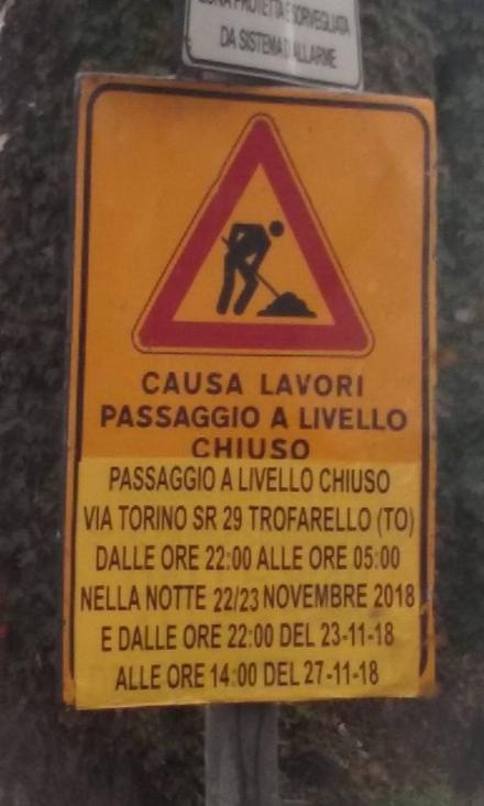 TROFARELLO - Lavori sulla ferrovia: chiuso per quattro giorni il passaggio a livello sulla sr 29