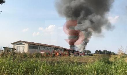 VINOVO - Incendio in unazienda agricola: a fuoco un magazzino di stoccaggio - FOTO