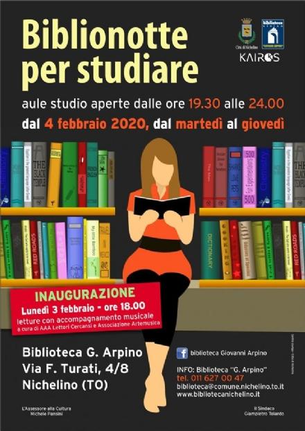NICHELINO - Nasce il servizio «Biblionotte» per studiare