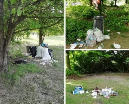 MONCALIERI - Maiali al parco: dopo il pic-nic lasciano la spazzatura