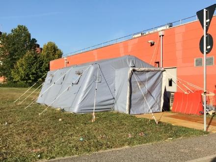 ORBASSANO - La tenda del pre triage allospedale è di nuovo funzionante
