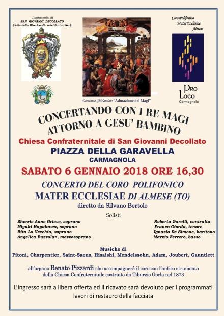 CARMAGNOLA - Il 6 gennaio concerto alla Confraternita della Misericordia