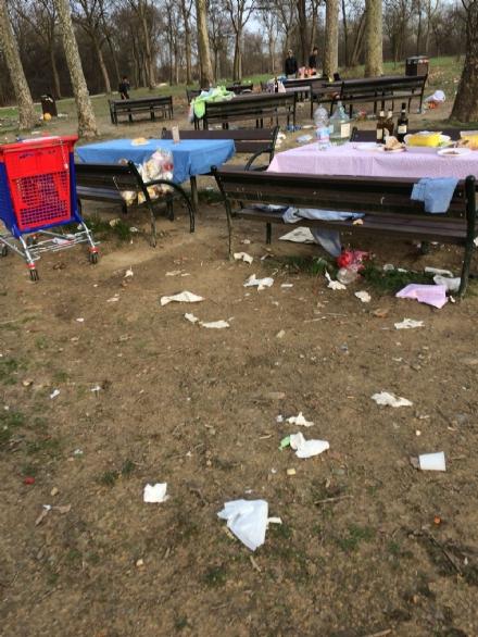 NICHELINO - Parco Boschetto senzacqua e trasformato in un immondezzaio a Pasquetta