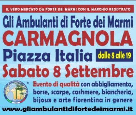 Loriginale Consorzio «Gli Ambulanti di Forte dei Marmi» a Carmagnola sabato 8 settembre