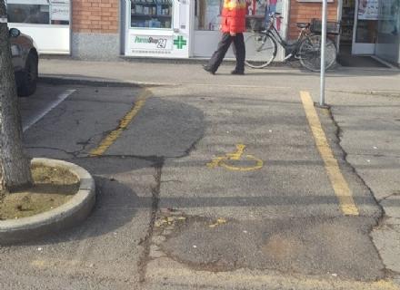 CARMAGNOLA - Piante e scalini: i parcheggi per disabili tra gli ostacoli