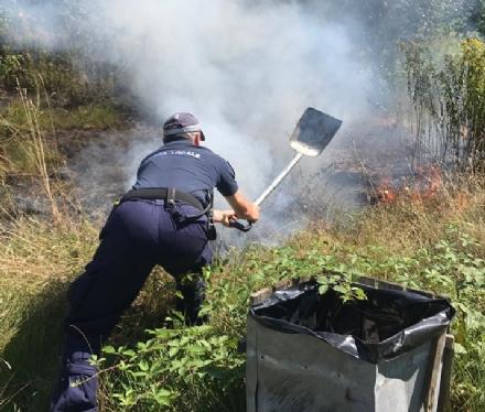 NICHELINO - Incendio al parco del Boschetto, la polizia locale evita il disastro