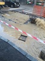 NICHELINO - Voragine nellasfalto provocata da una perdita dacqua in via Torino - immagine 1