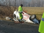BRUINO - Incidente stradale, auto si ribalta: un uomo in prognosi riservata - FOTO - immagine 1