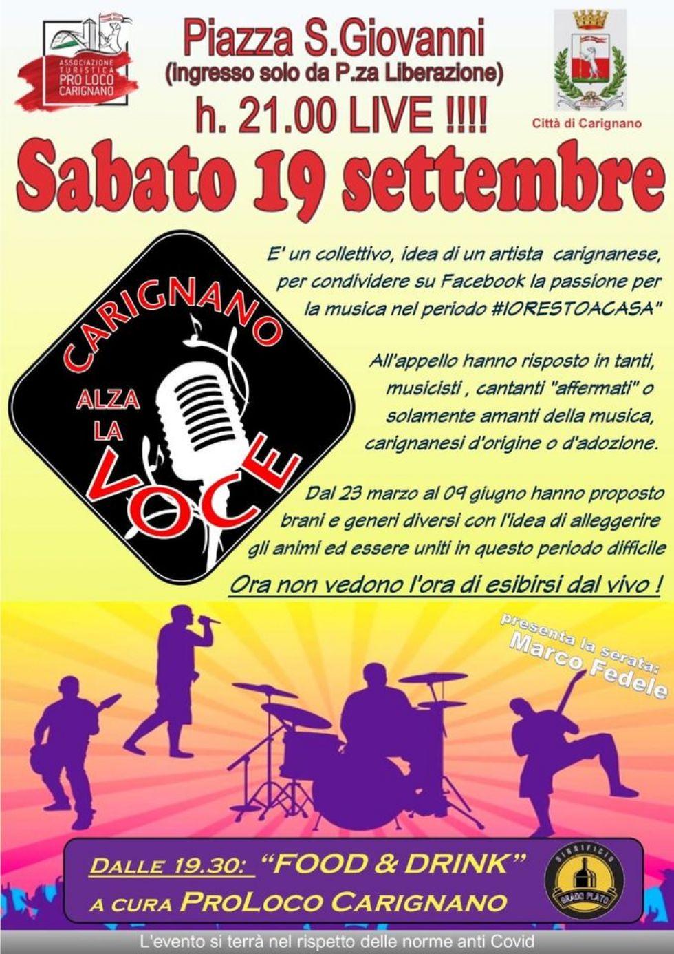 CARIGNANO - Dal web al concerto in piazza con Carignano Alza la Voce