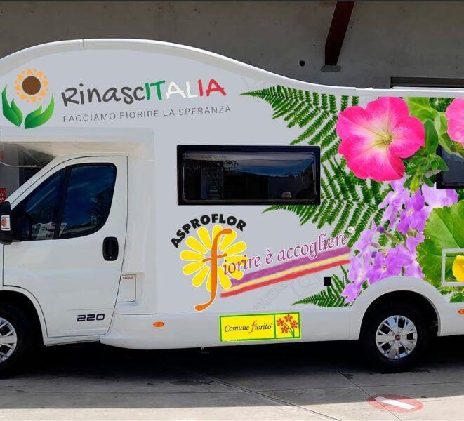 NICHELINO - «RinascITALIA», riparte il camper del progetto di Asproflor Comuni Fioriti