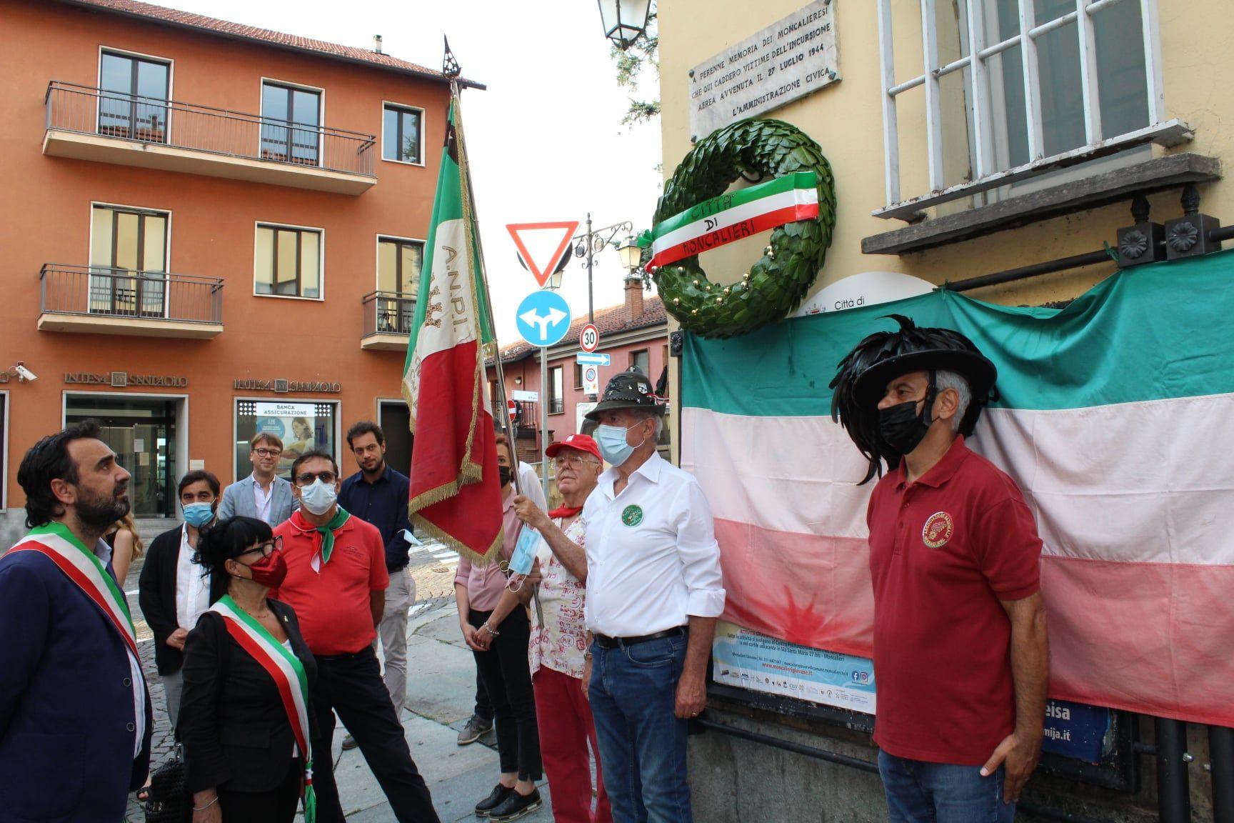 MONCALIERI - La città ricorda il sacrificio dei tre martiri della Resistenza uccisi il 27 luglio 1944